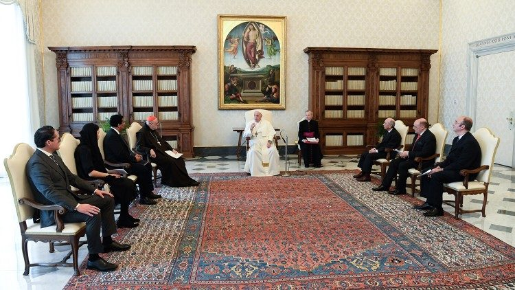 Pope Francis meeting a delegation from the European Institute for International Studies (EIIS),  Feb. 12, 2021.