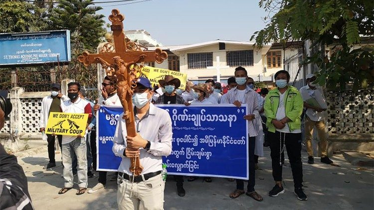 Catholics participate in peaceful protests in Myanmar, 22 February