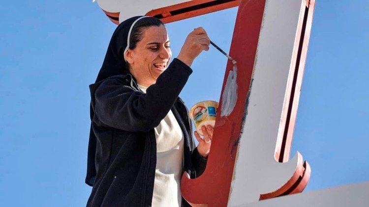 Preparativi per l'animazione al viaggio del Papa in Iraq