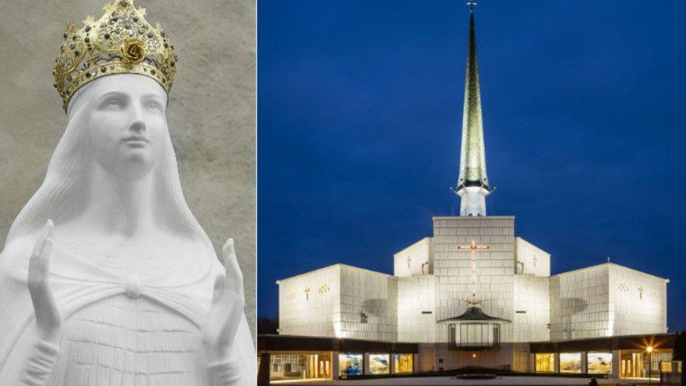 Photo représentant la Vierge de Knock et l'église du sanctuaire.