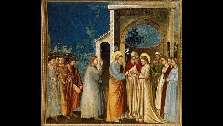 Giotto , Núpcias da Virgem Maria, 1303-1305 ca. Capela Scrovegni, Pádua
