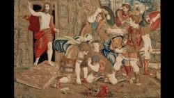 Flemish production, Brussels, workshop of Pieter van Aelst (d. Brussels 1532); design from the school of Raphael Sanzio (Urbino 1483 - Rome 1520), The Resurrection, tapestry, 1525 – 1531, © Musei Vaticani