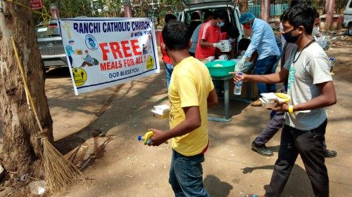 A lunch stall by Ranchi Archdiocese at the RIMS Hospital in Ranchi, India.