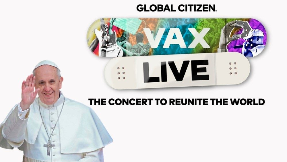 A collage of Pope Francis and the Vax Live logo