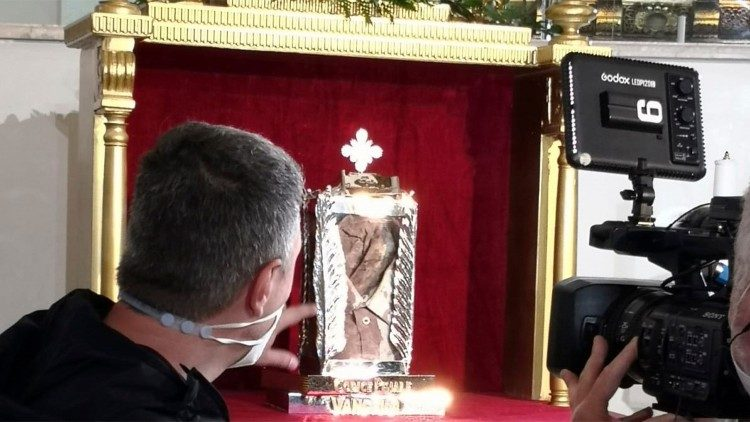 Reliquary containing the bloodied shirt of Blessed Rosario Livatino