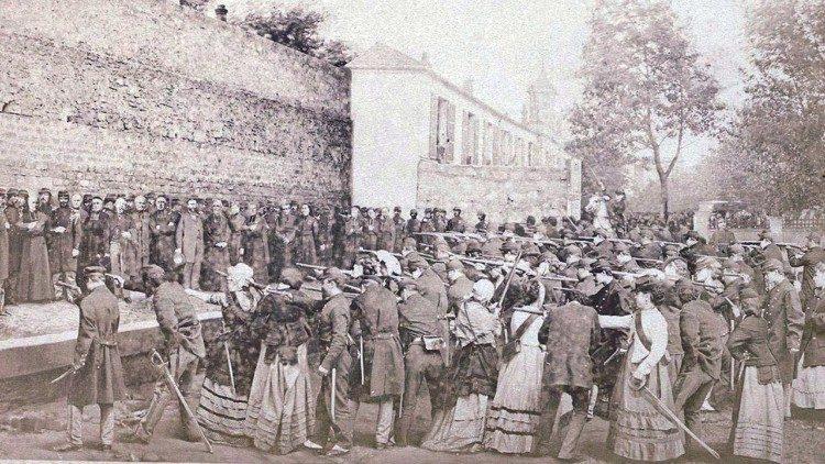 Un photomontage d'Eugène Appert représentant le massacre de la rue Haxo, le 26 mai 1871 à Paris. (Wikimedia Commons)