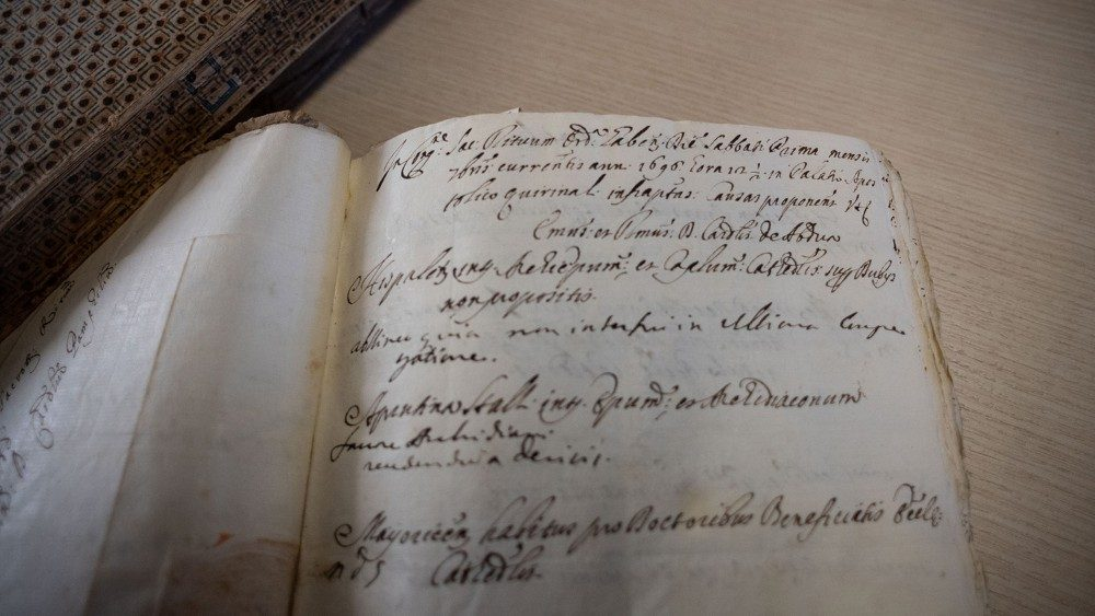 An ancient volume in the Archives of the Congregation for the Causes of Saints