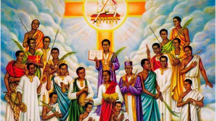 Une fresque représentant les saints martyrs de l'Ouganda.