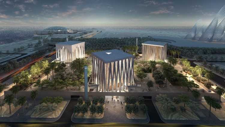 A virtual model of the future Abrahamic Family House in Abu Dhabi.