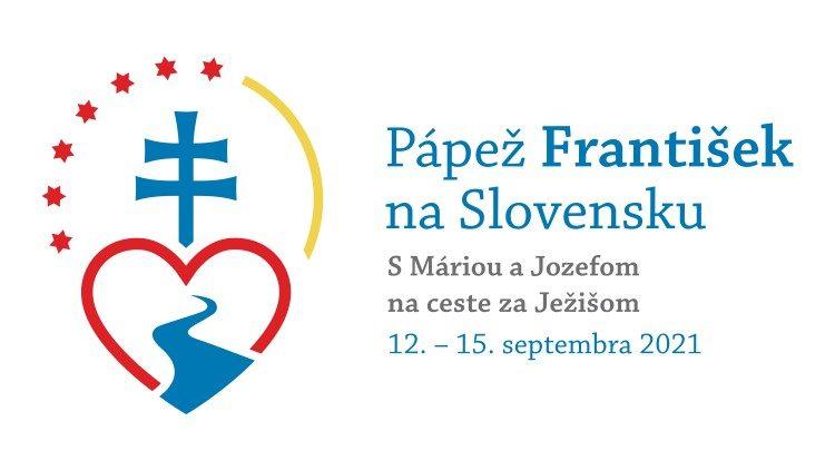 Logotip papeževega apostolskega potovanja na Slovaško, ki bo potekalo pod geslom: »Z Marijo in Jožefom na poti k Jezusu«.