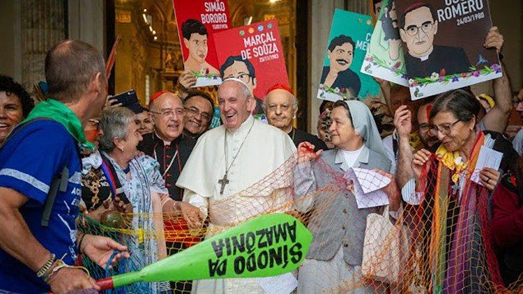 O Papa Francisco durante o Sínodo para a Amazônia