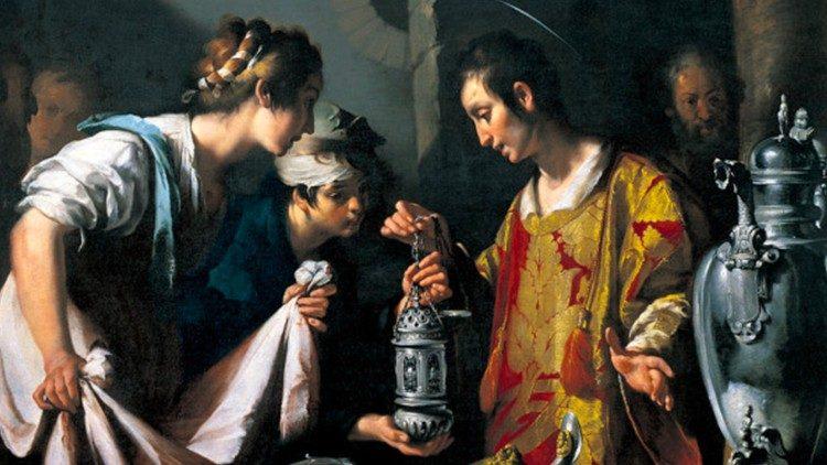 Saint Laurent distribuant aux pauvres les biens de l'Église - peinture de Bernardo Strozzi