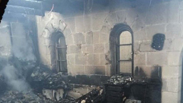 File photo of the 2015 arson attack on the church