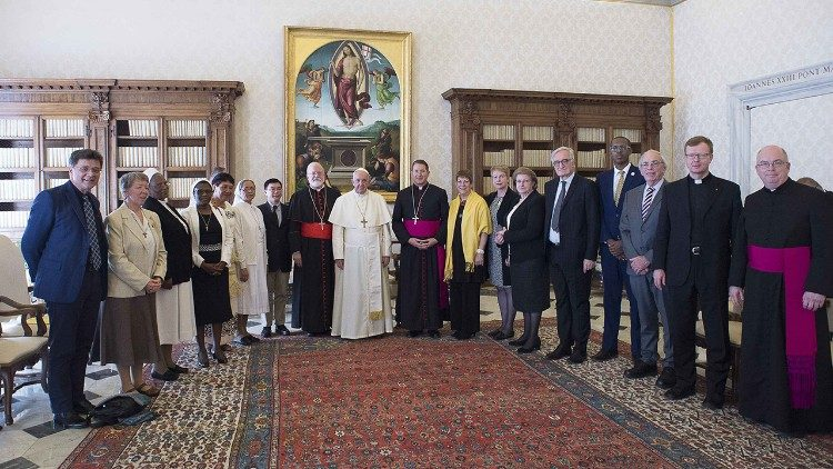 Pope Francis with past and present members of the Pontifical Council for the Protection of Minors (archive photo)