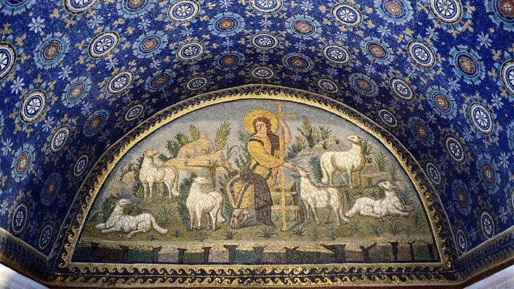 Buon Pastore, mosaico, prima metà del V sec. d.C., Mausoleo di Galla Placidia, Ravenna  metà