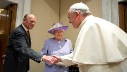 Pope Francis with Queen Elizabeth and Prince Philip, Duke of Edinburgh