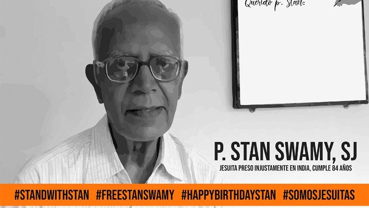 A poster calling for Fr. Stan's release from prison