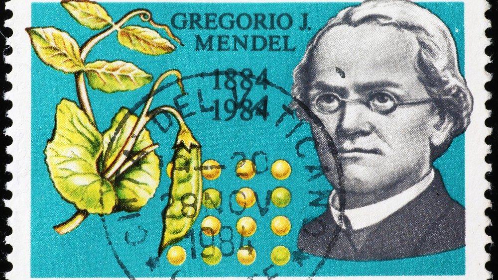 Un francobollo con l'immagine Gregor Mendel, il padre della genetica