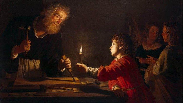 Sveti Jožef in mladi Jezus (Gerrit Van Honthorst, 1630)