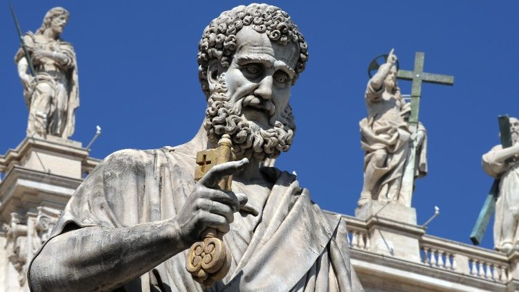 Statue of St Peter with the keys in front of St Peter's Basilica